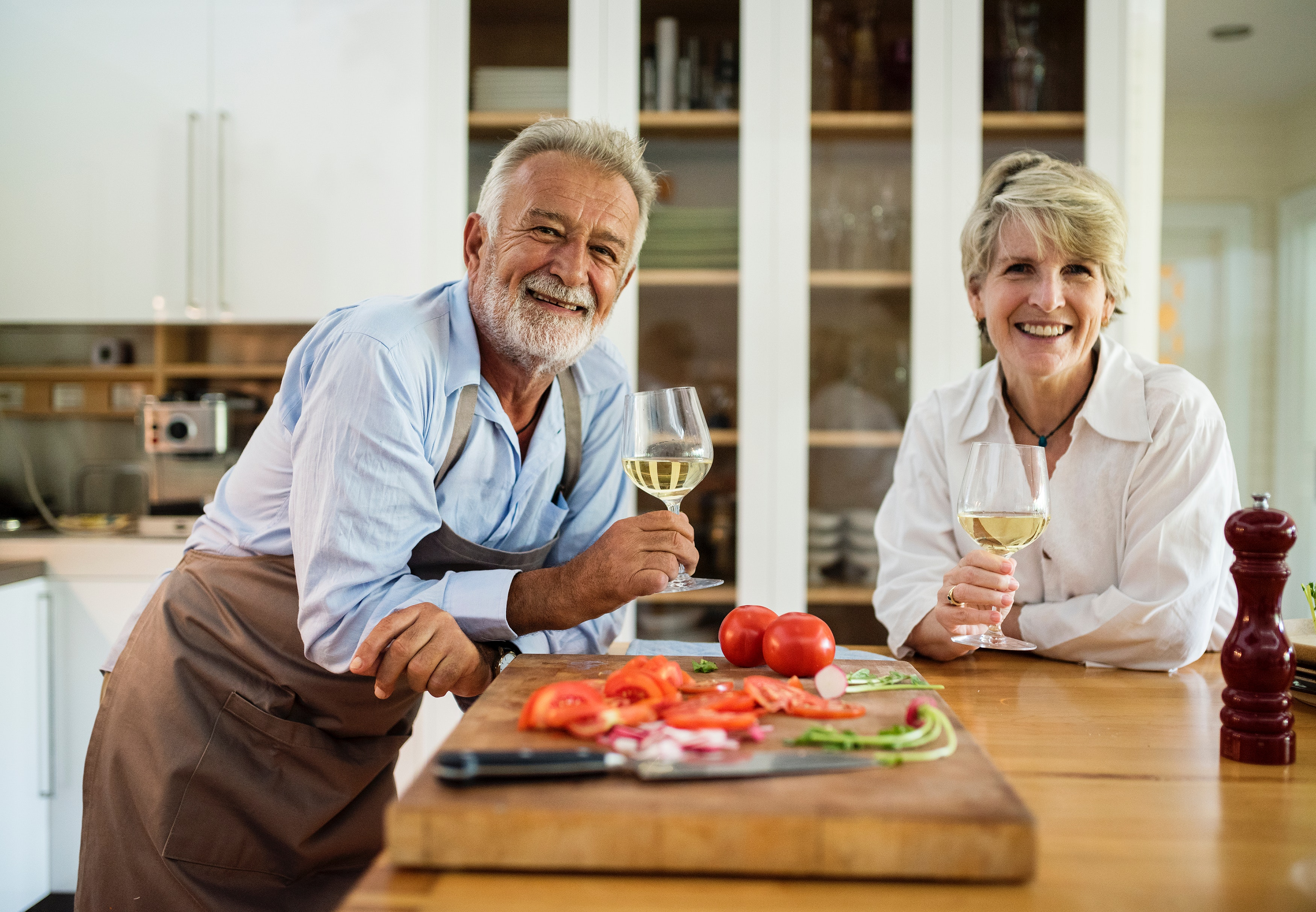 healthy couple having dinner