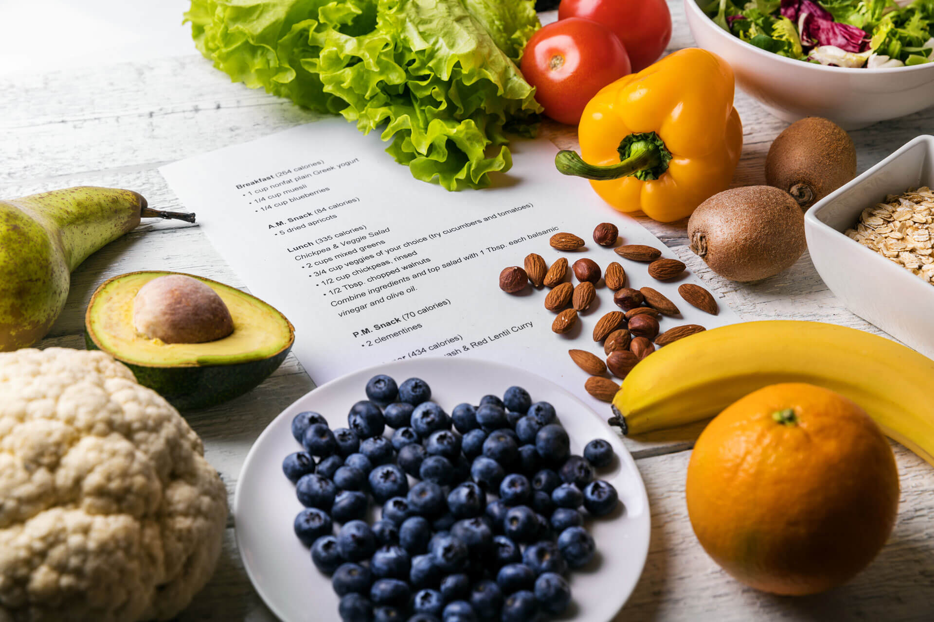 Various healthy foods around meal plan instructions