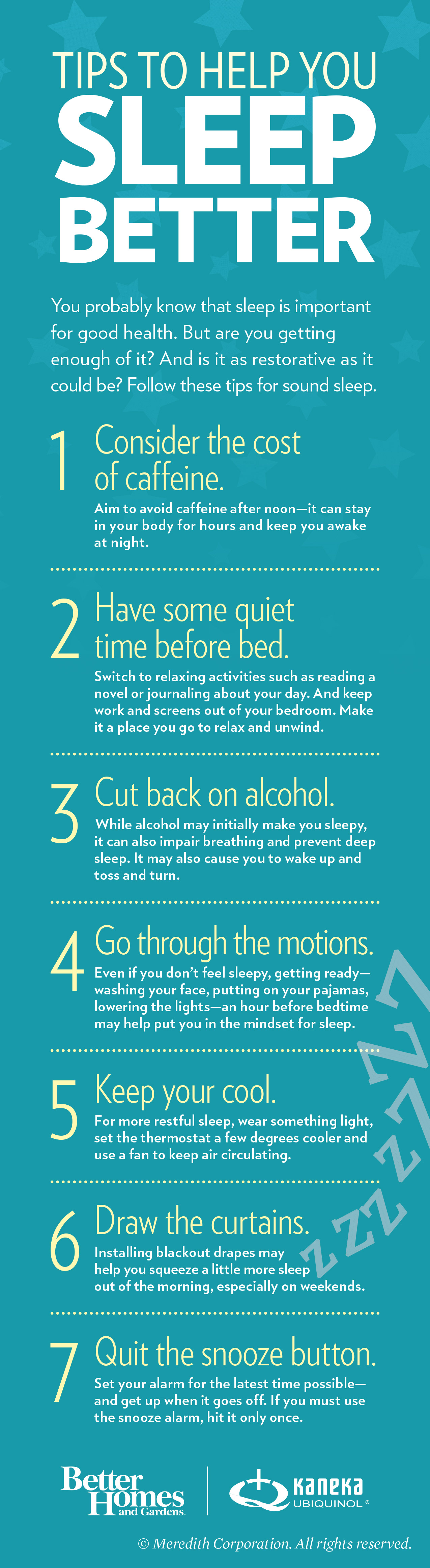 seven tips for better sleep infographic