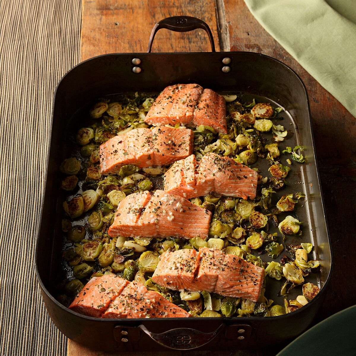 garlic roasted salmon with brussels sprouts
