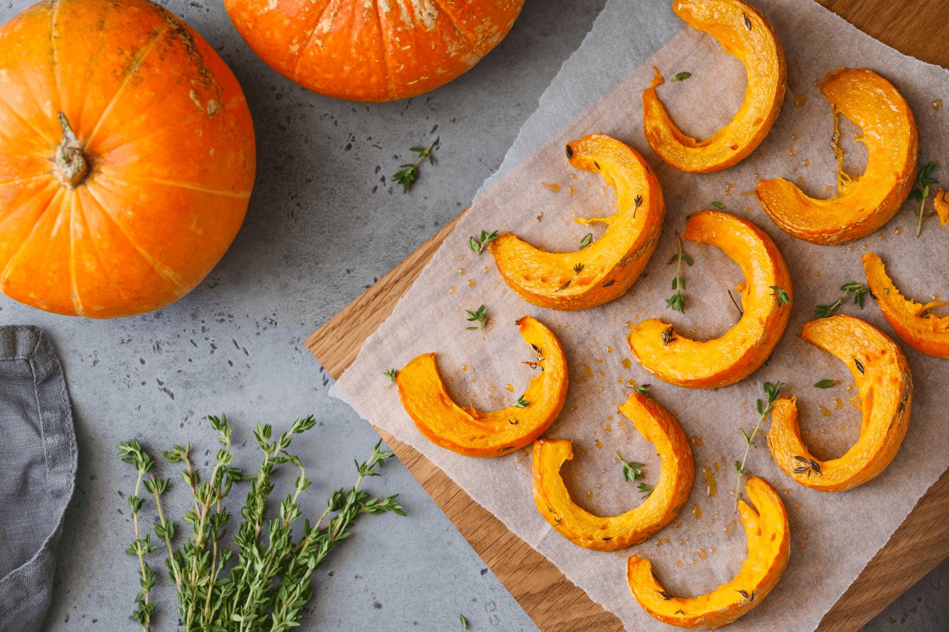 Whole and Sliced Pumpkins
